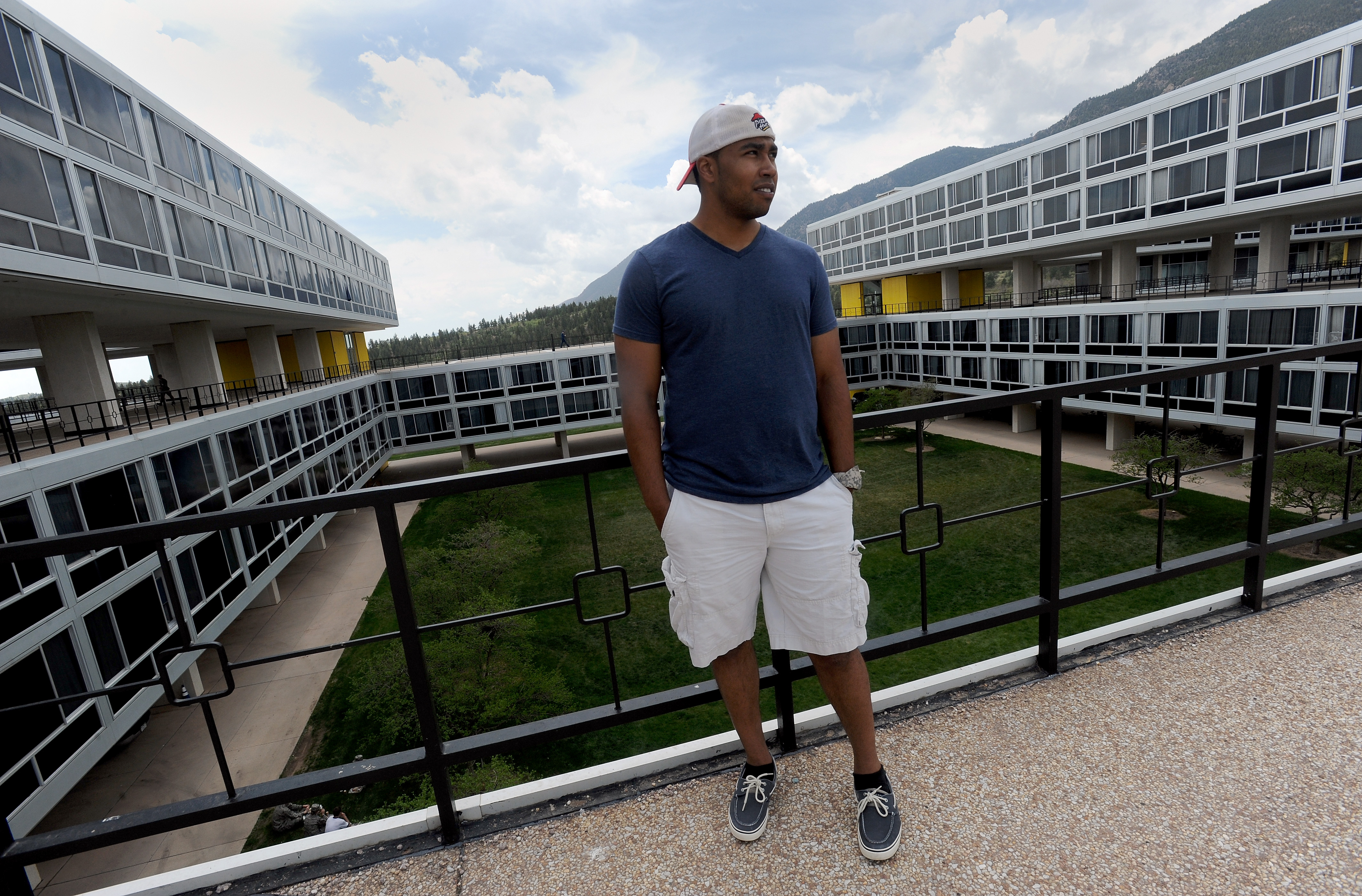 Former Air Force Cadet Eric Thomas stands outside the cadet dorms in May, a month after he was expelled from the Air Force Academy. (The Gazette, Christian Murdock)